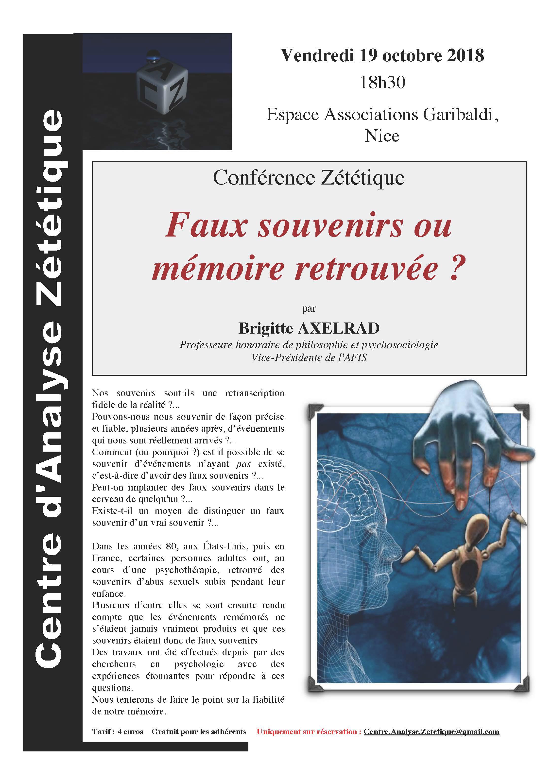 Conférence de B. Axelrad sur les faux souvenirs à Paris 48a15eaede28